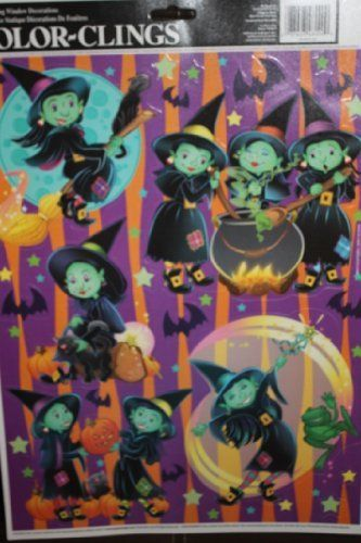 Cartoon Witches  Bats Halloween Color Clings Window Mirror Art - halloween window clings