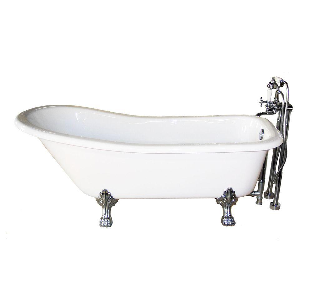 Victoria 4 Feet 11-Inch Freestanding Clawfoot Non Whirlpool Bathtub ...