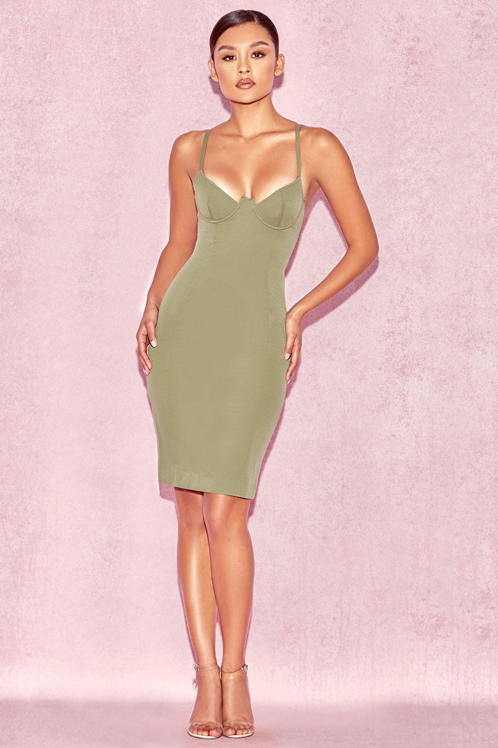 Clothing : Bodycon Dresses : 'Mallory' Khaki Underwired Bustier Dress