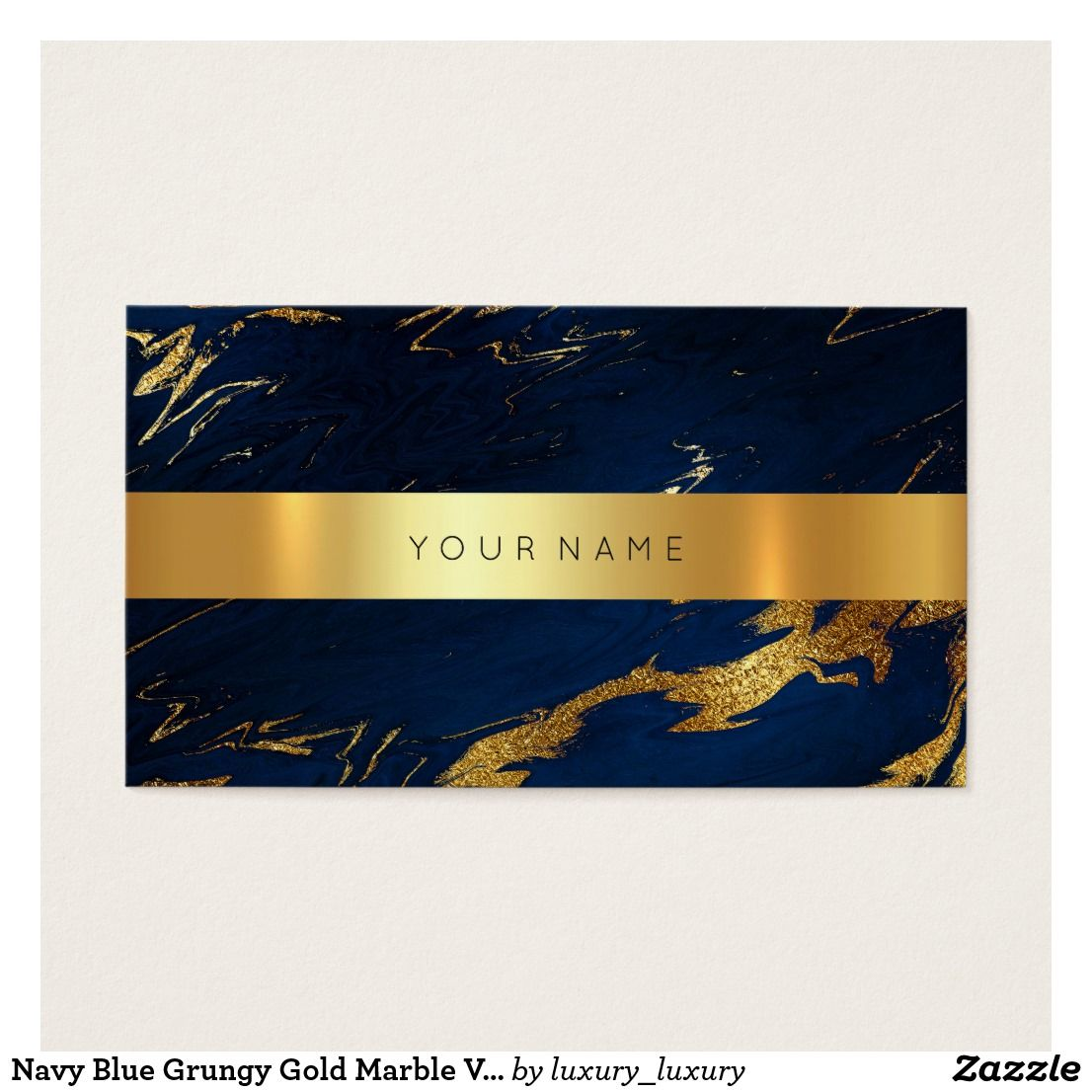 Navy Blue Grungy Gold Marble Vip Business Card2 Business