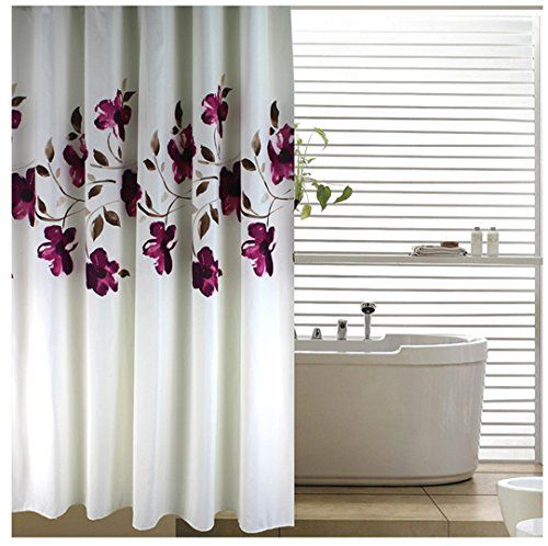 Eforgift By Floral Shower Curtain Fabric Polyester Waterproof No More Mildews Bathroom Curtains With Free Rings Purple White Extra Long