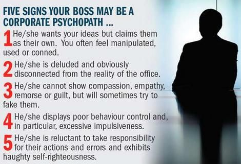 5 Signs Your Boss My Be a Corporate Psychopath! » Beware the Psycho