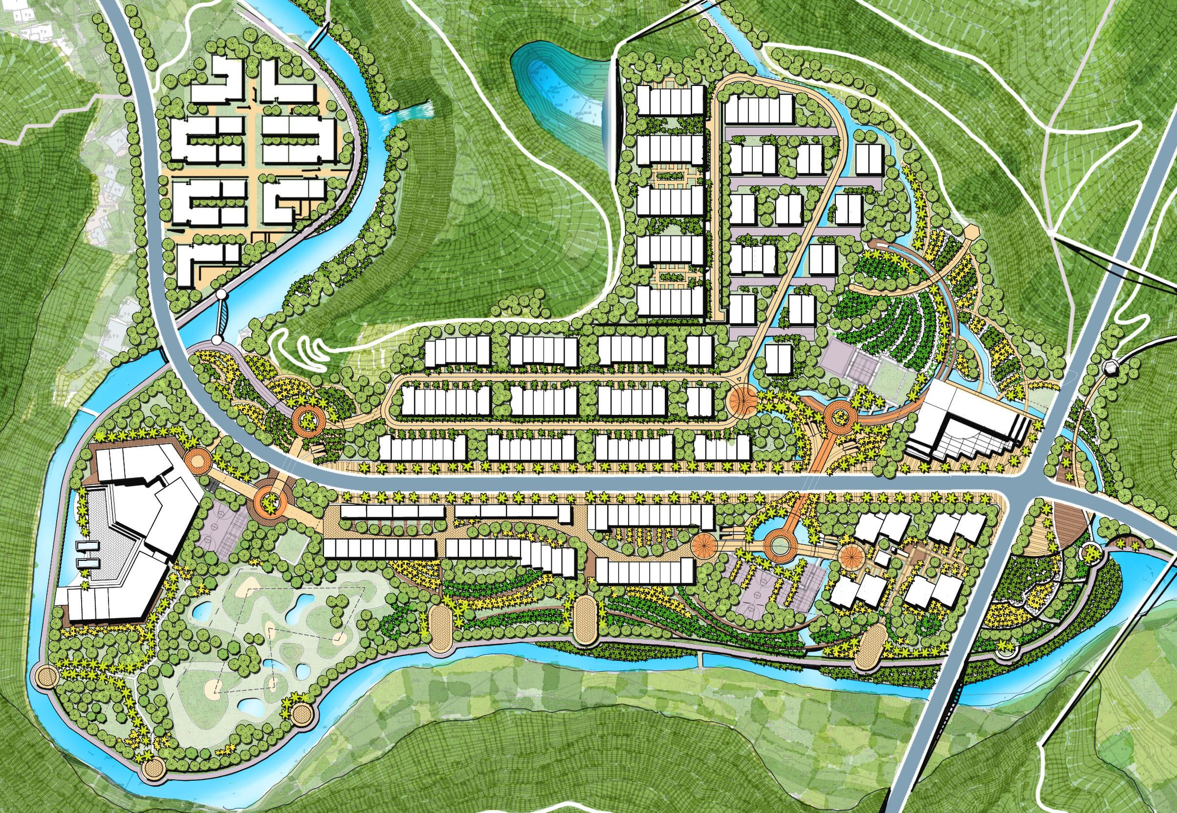 Row Housing Development And Landscape River Side Development Residential Landscape Private Gardens In 2020 Urban Design Graphics Urban Planning Master Plan