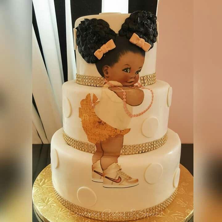Cute Afro Black Woman Birthday Cake