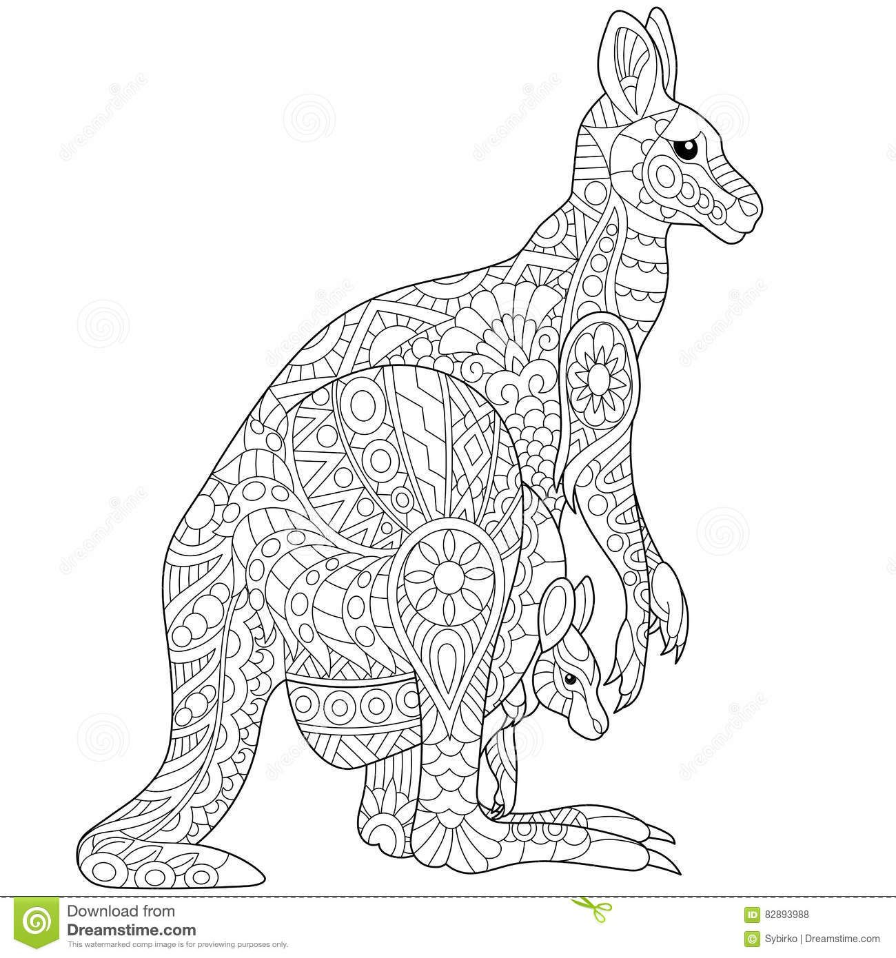Coloriage Mandala Kangourou.Epingle Par Emilie Sur Mandalas Animal Coloring Pages Adult