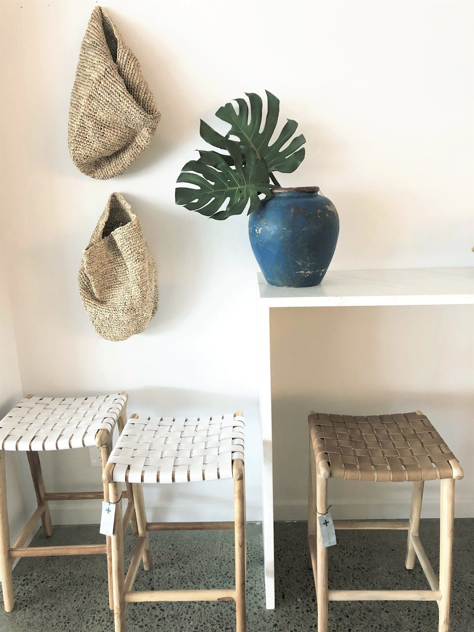 White Leather Weave Bar Stool Woven