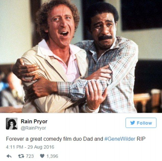 Rain Praynor, the daughter of Wilder's on-screen comic partnerRichard, tweeted out her condolences on Monday