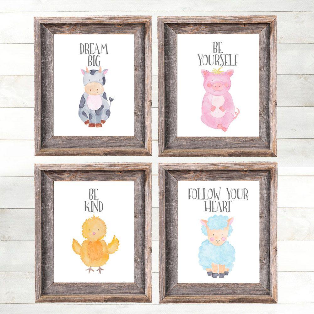 Baby Farm Animal Nursery Prints Art By Adorenstudio