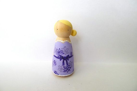 Peg Doll Purple Floral Spring by abbyjac on Etsy, $13.00
