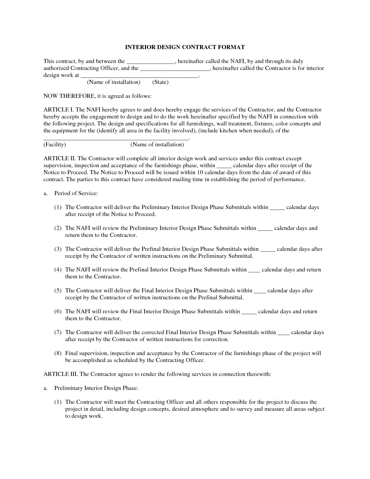 interior design letter of agreement template