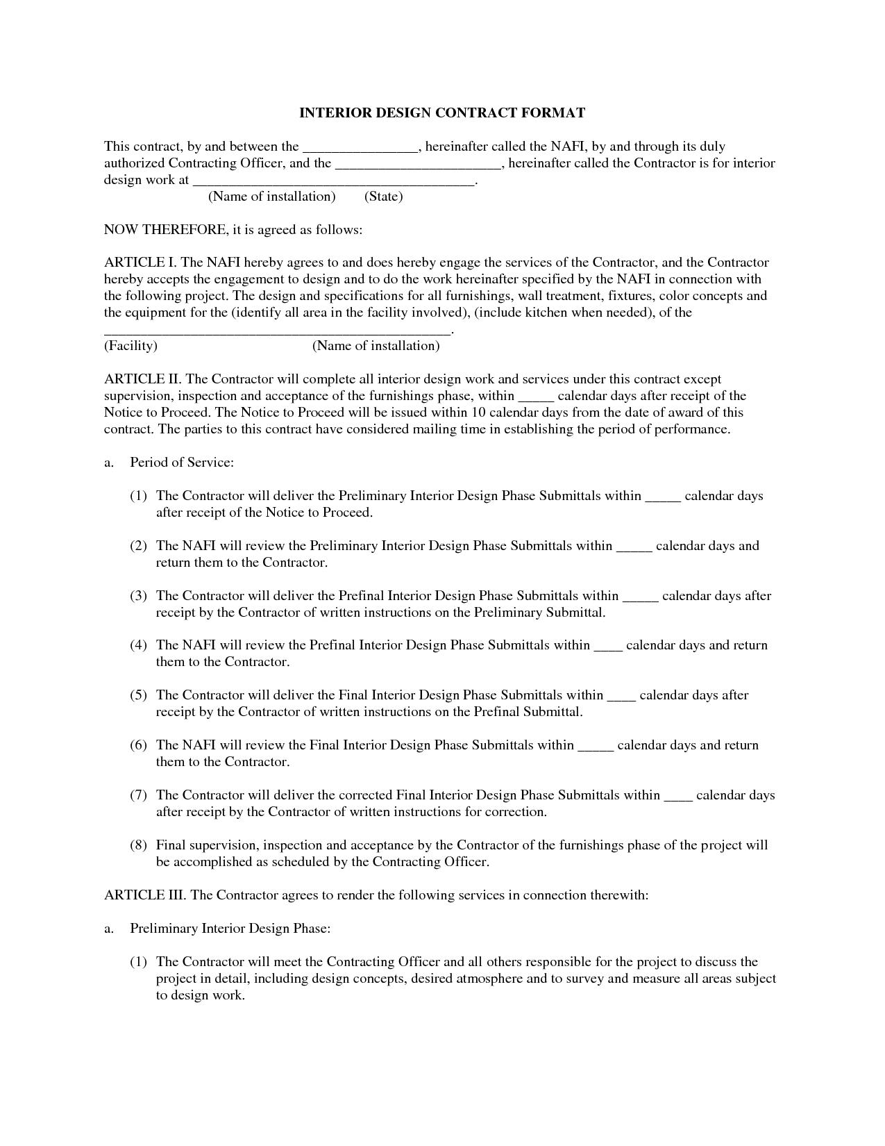 Interior design contract template doors agreement also rh pinterest