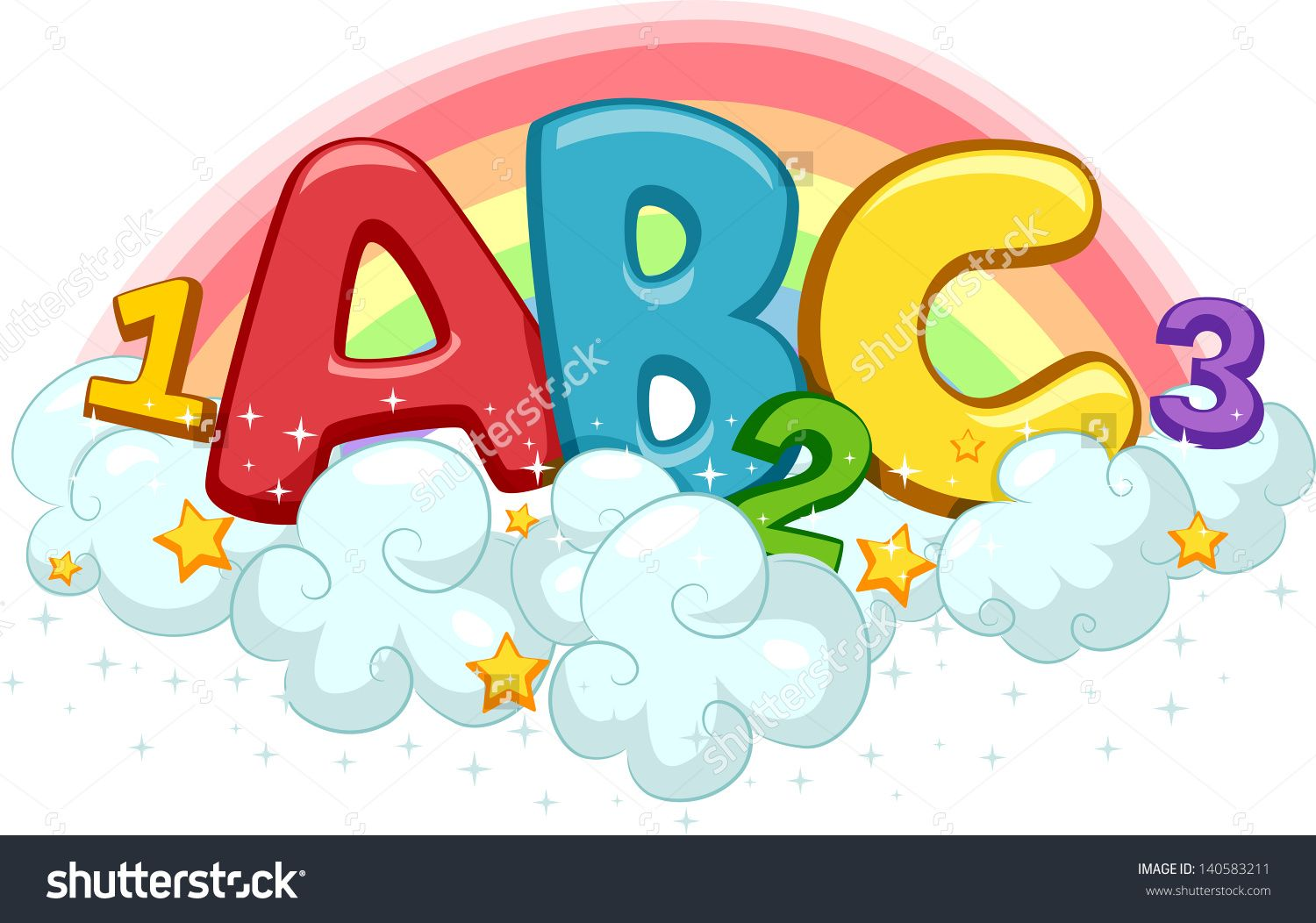 Illustration Of Abc And 123 On Clouds With Stars And