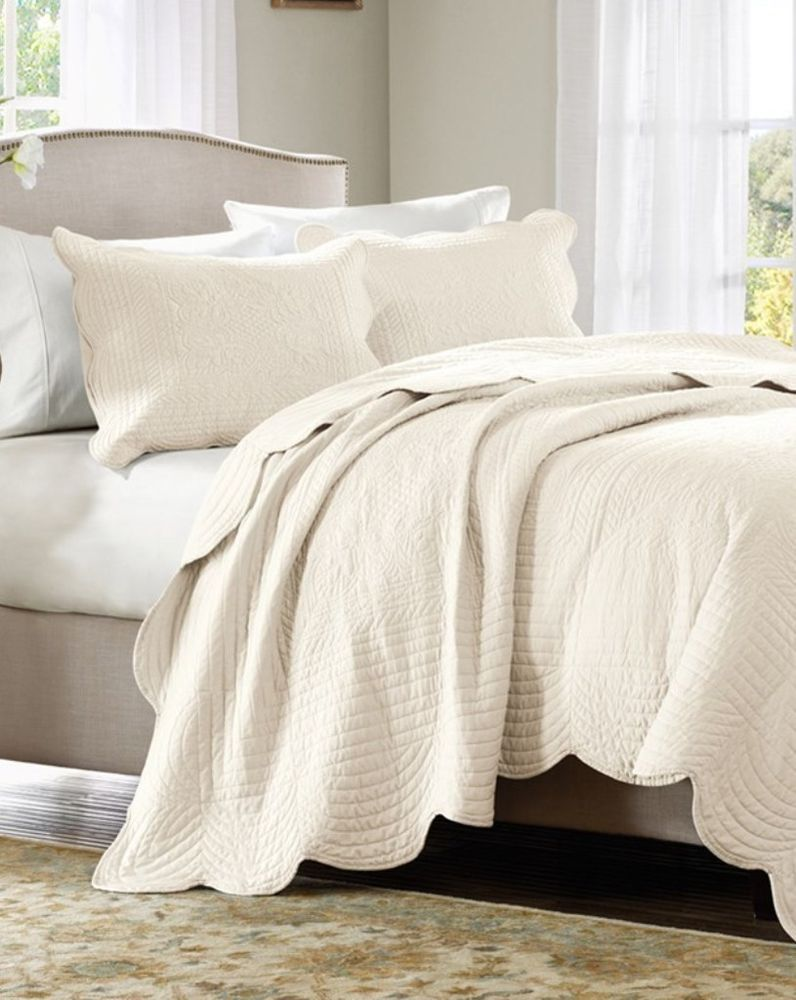IVORY MATELASSE 3pc ** King ** COVERLET SET : COTTAGE QUILT CREAM TILE  BEDDING