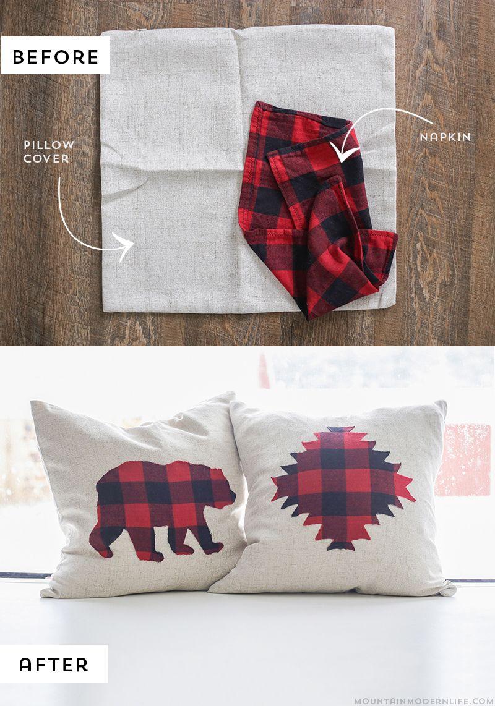 How to Make No-Sew Rustic Winter Pillows & How to Make No-Sew Rustic Winter Pillows | Buffalo plaid No sew ... pillowsntoast.com