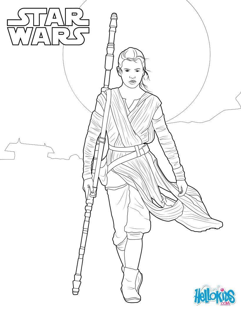 Coloriage de Star Wars le réveil de la force, avec Rey. Un