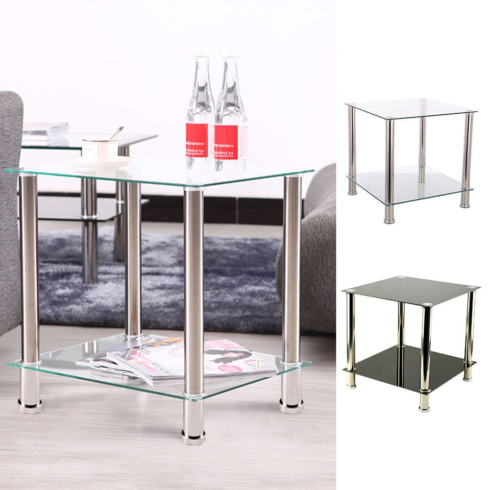2 Tiers Black / Clear Shelf Glass Side End Coffee Lamp Table Living ...