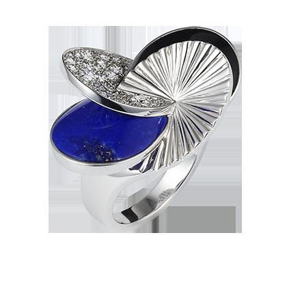 Paris Nouvelle Vague ring, large model - White gold, diamonds, colored stones - Cartier
