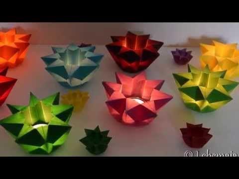 basteln zu Weihnachten: einfache Stern - Windlichter falten aus Papier