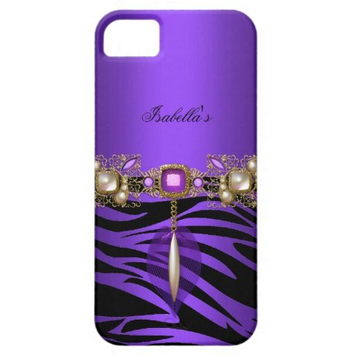 Zebra Gold Purple Elegant iPhone 5 Case