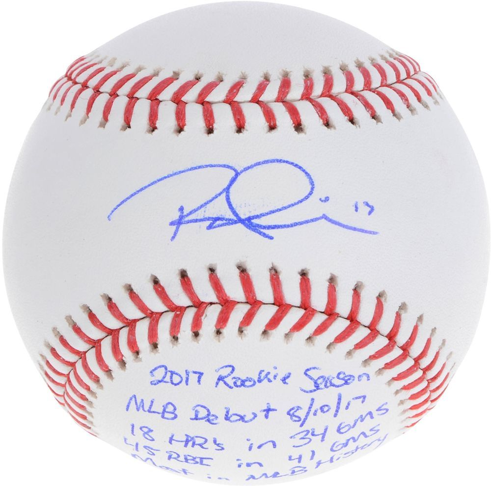 c37b25f4938 Rhys Hoskins Philadelphia Phillies Autographed Baseball   Multiple Inscs -  LE 17