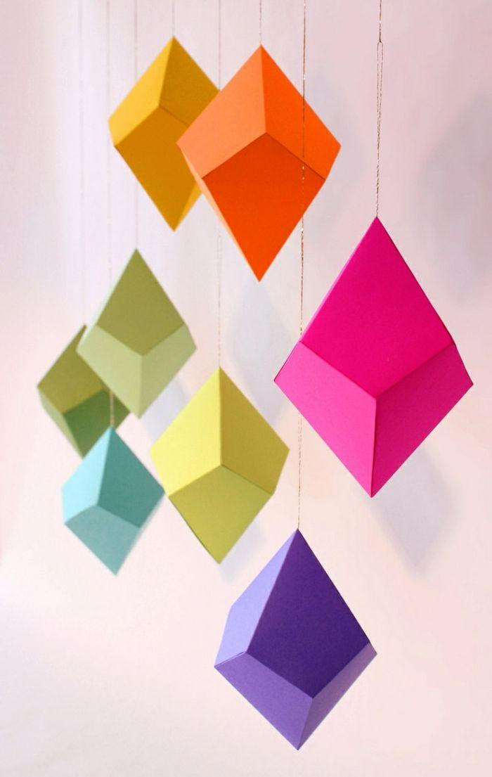 kreativ basteln papier geometrisch farbig h ngende dekoideen mobile basteln pinterest. Black Bedroom Furniture Sets. Home Design Ideas