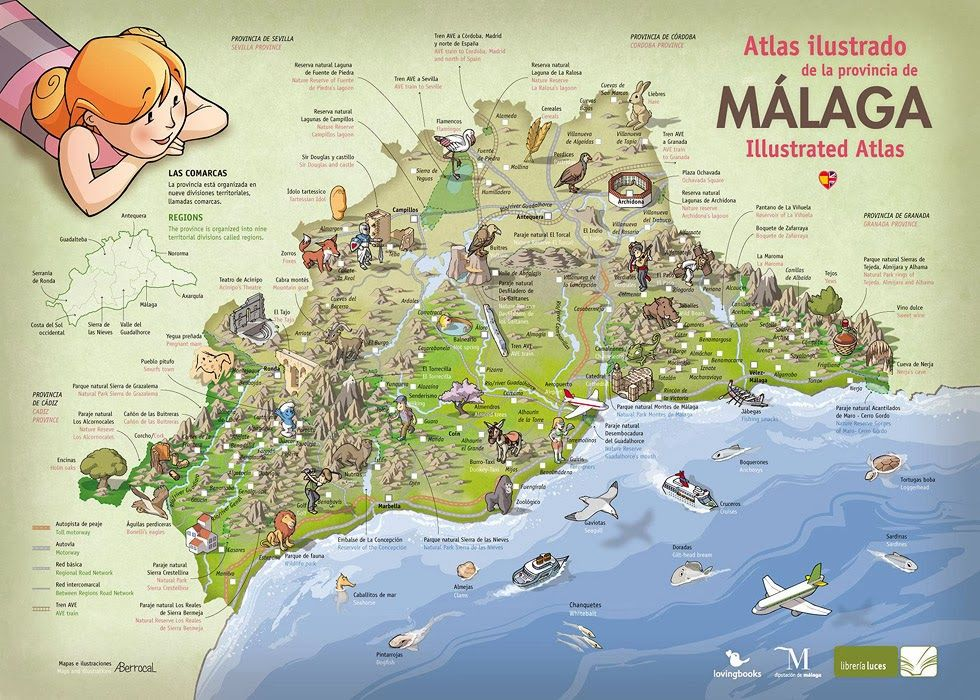 Mapa Turistico De Malaga.Atlas Ilustrado De La Provincia De Malaga En 2019 Mapas