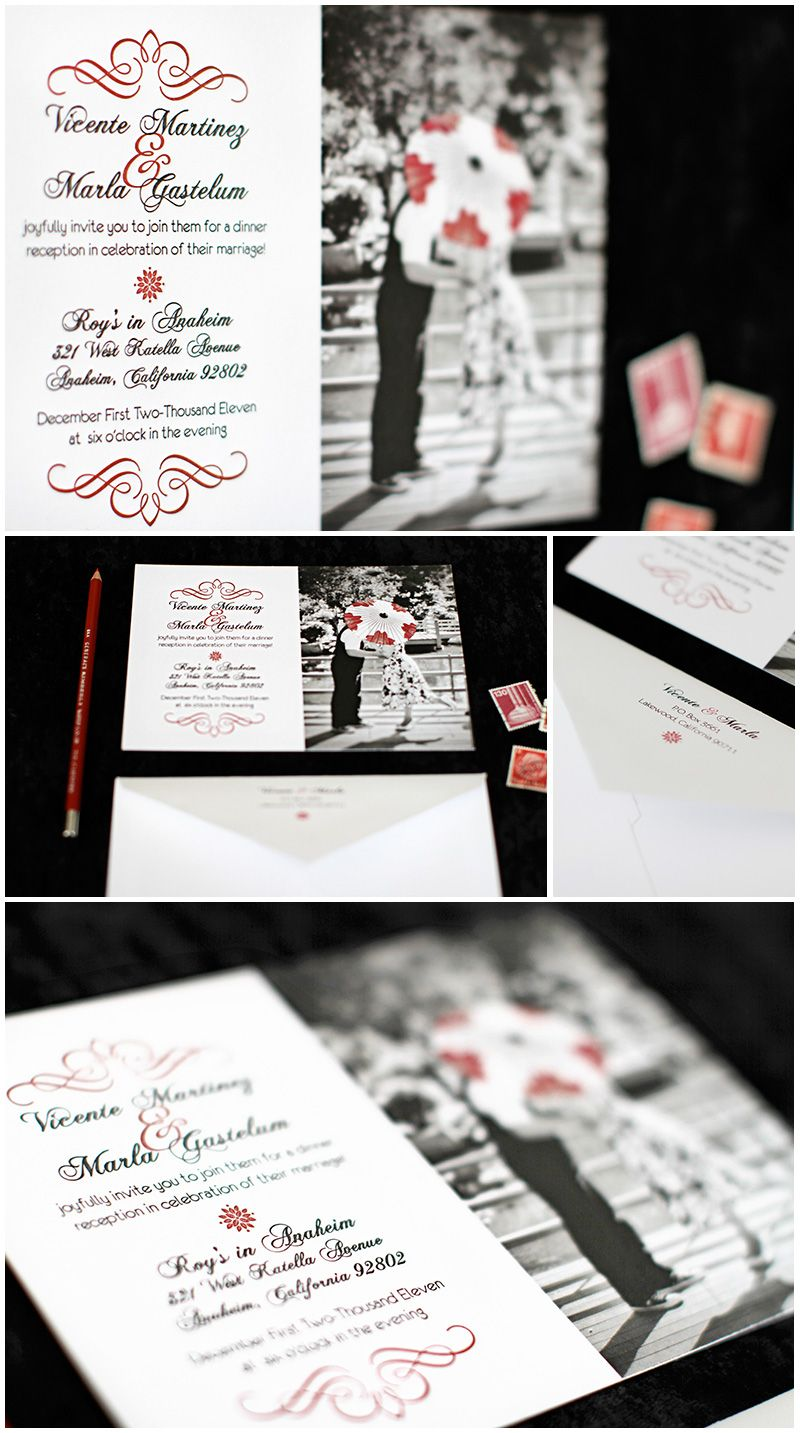 black, white, and red wedding stationery...use a pic of the two of ...