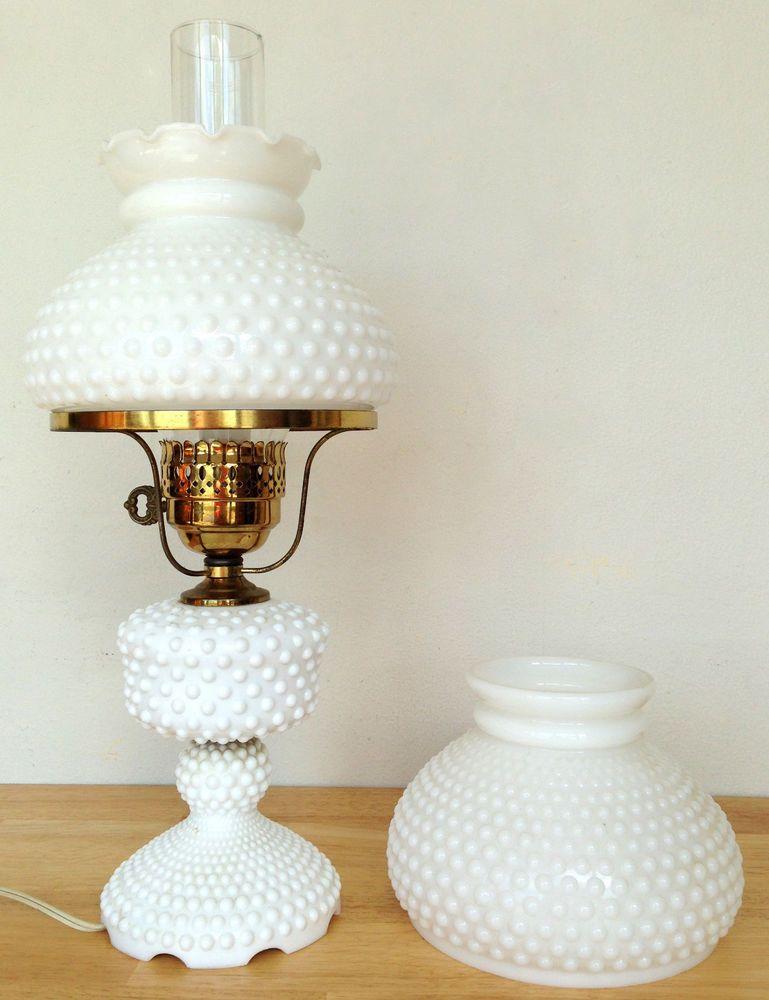 Vintage White Milk Glass Hobnail Electric Hurricane Table Lamp W 2 Lamp Shades White Milk Glass Milk Glass Milk Glass Lamp