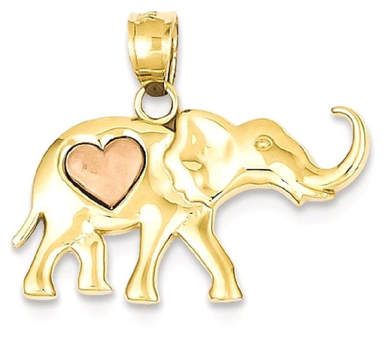 Ice carats k yellow rose gold elephant heart pendant charm