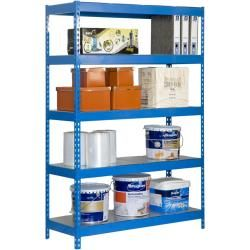 Photo of Large shelving unit B – Forte 1206-5 metal blue / galvanized, dimensions: 200 x 120 x 60 cm (H x W x D), Tr