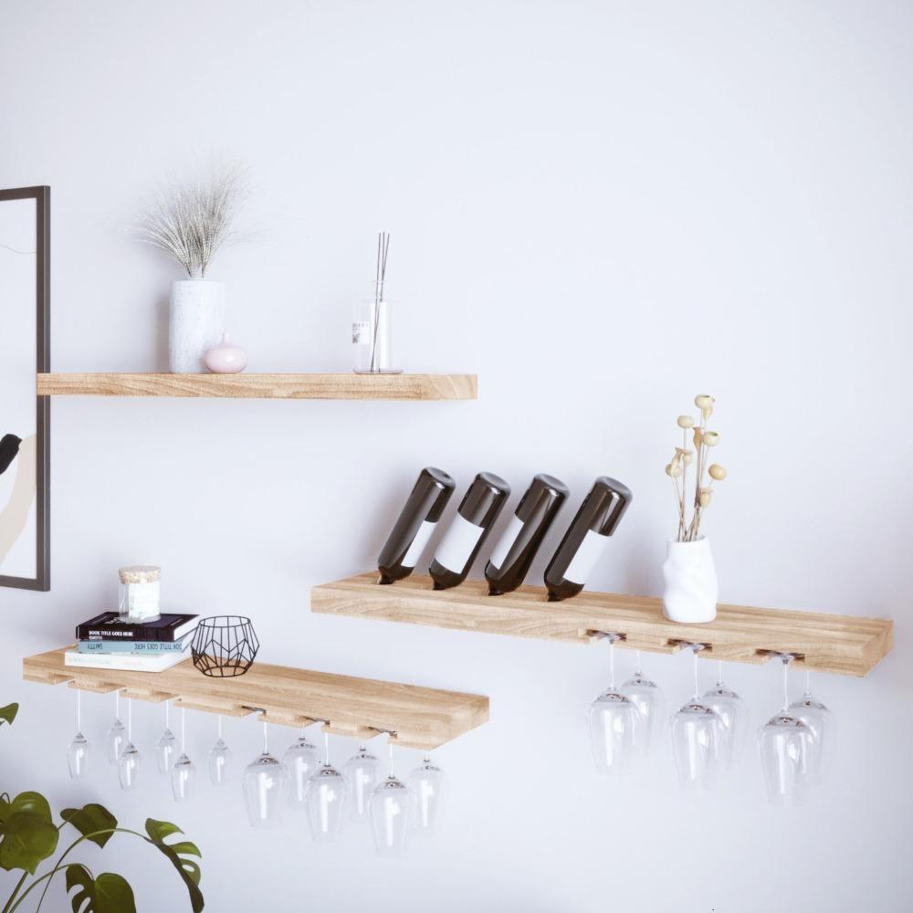 Weinregal 'Weinglas  und Flaschenregal aus Holz'   Esche
