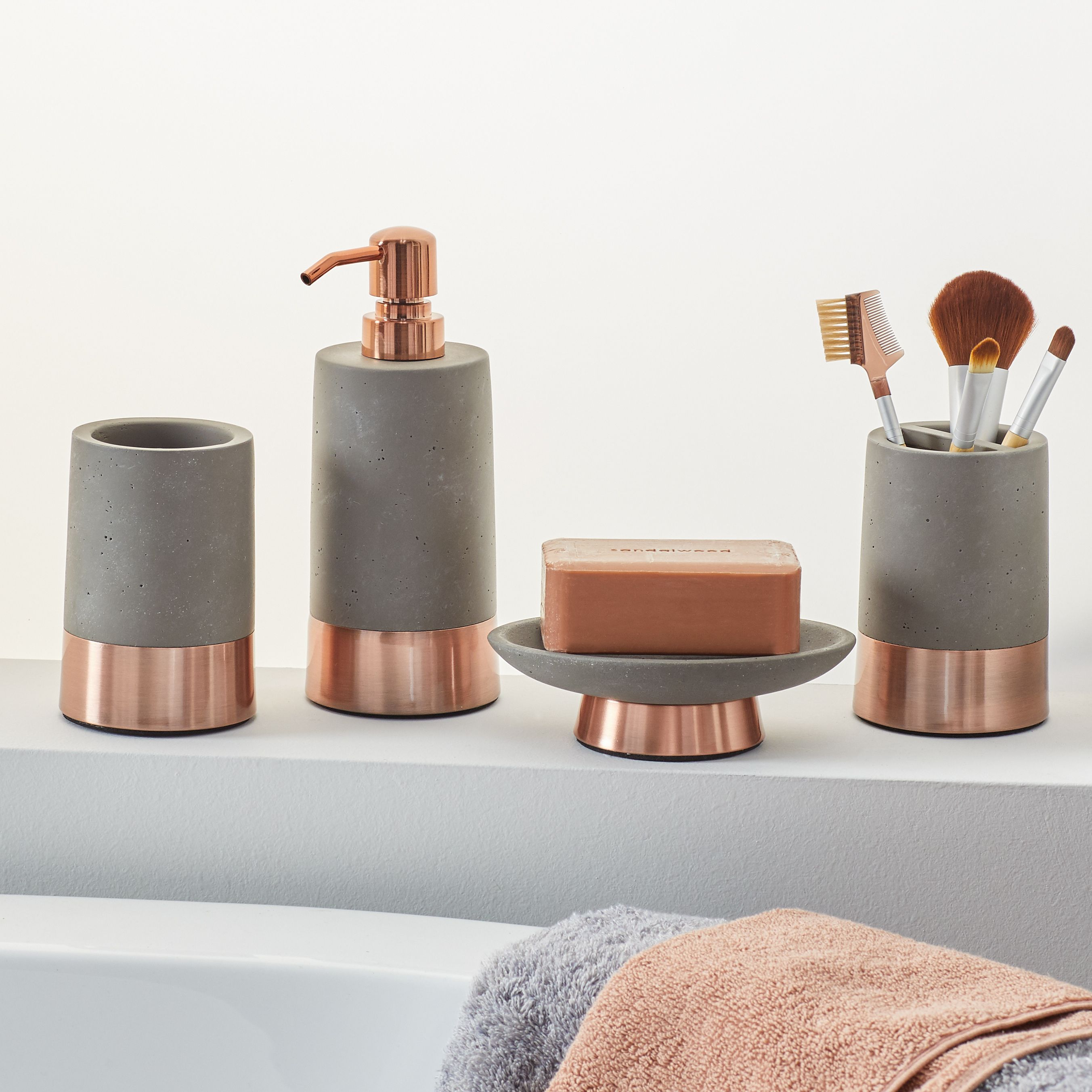 Modrn 4 Piece Concrete With Copper Accent Bath Accessory Set Walmart Com Copper Bathroom Accessories Bath Accessories Set Bath Accessories