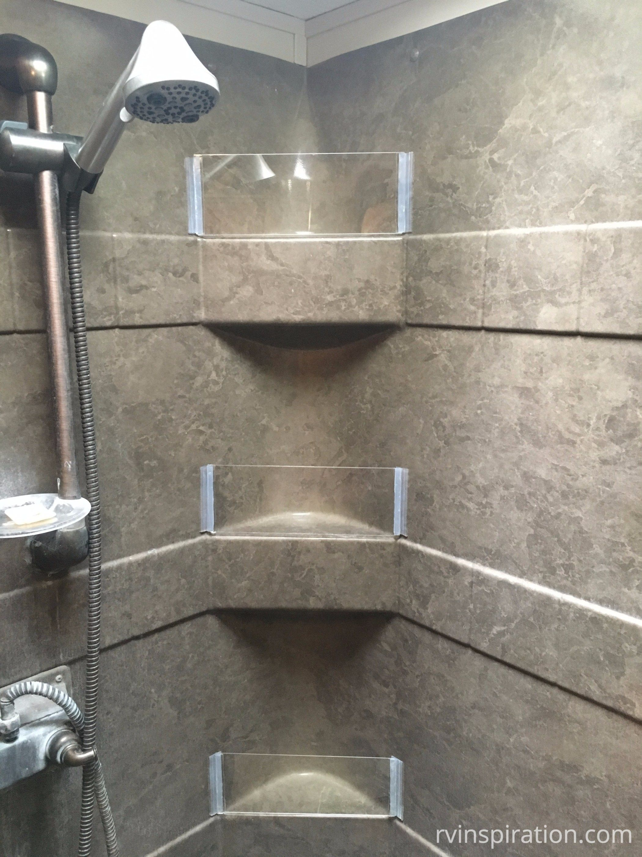 Diy How To Add Removable Walls To Shower Shelves Rv Inspiration Shower Shelves Camping Shower Rv Bathroom