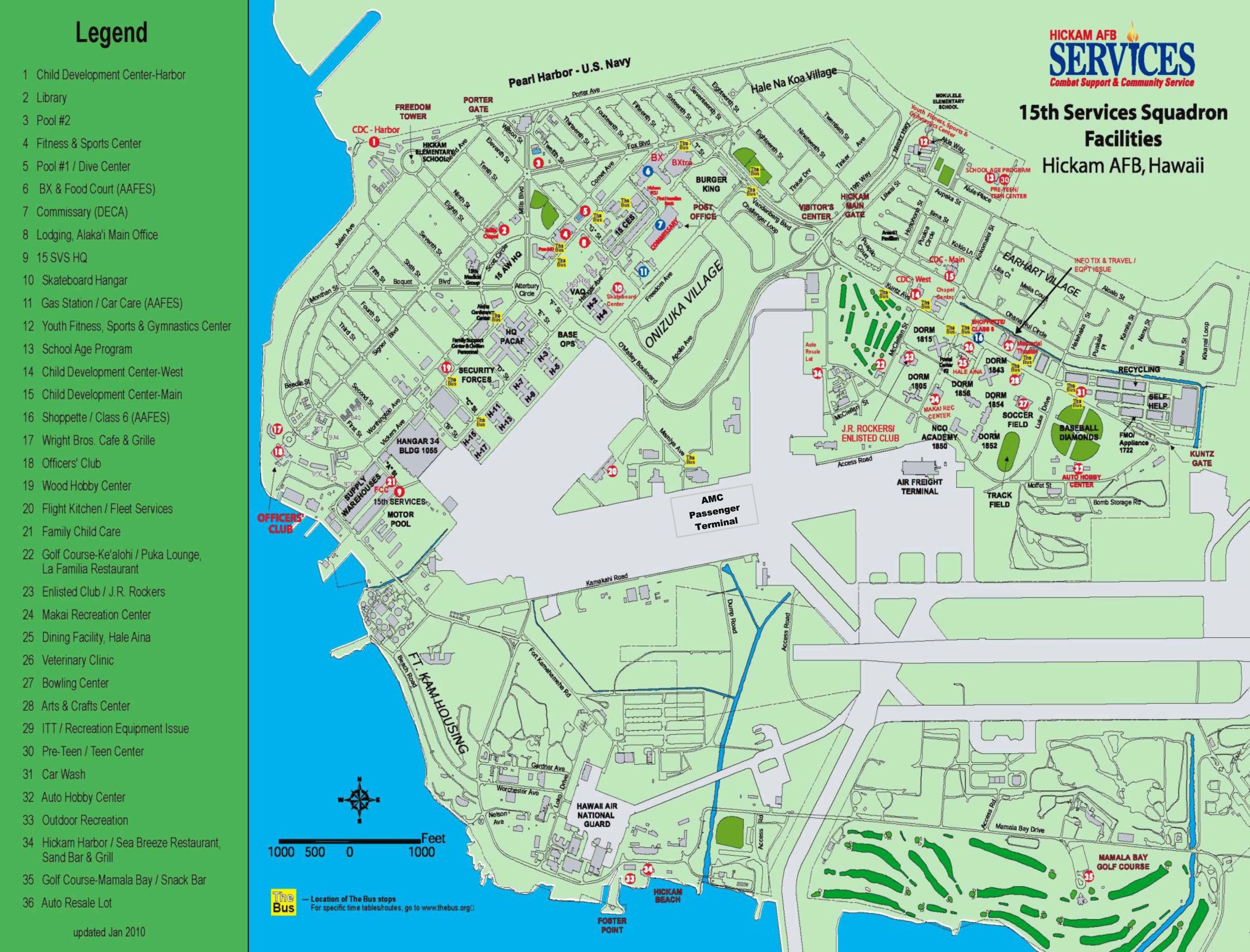 Marine Corps Base Hawaii Map.Hickam Air Force Base Hawaii Map Joint Base Pearl Harbor Hickam