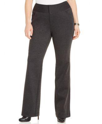 4a8342db14 INC International Concepts Plus Size Ponte Straight-Leg Pants ...