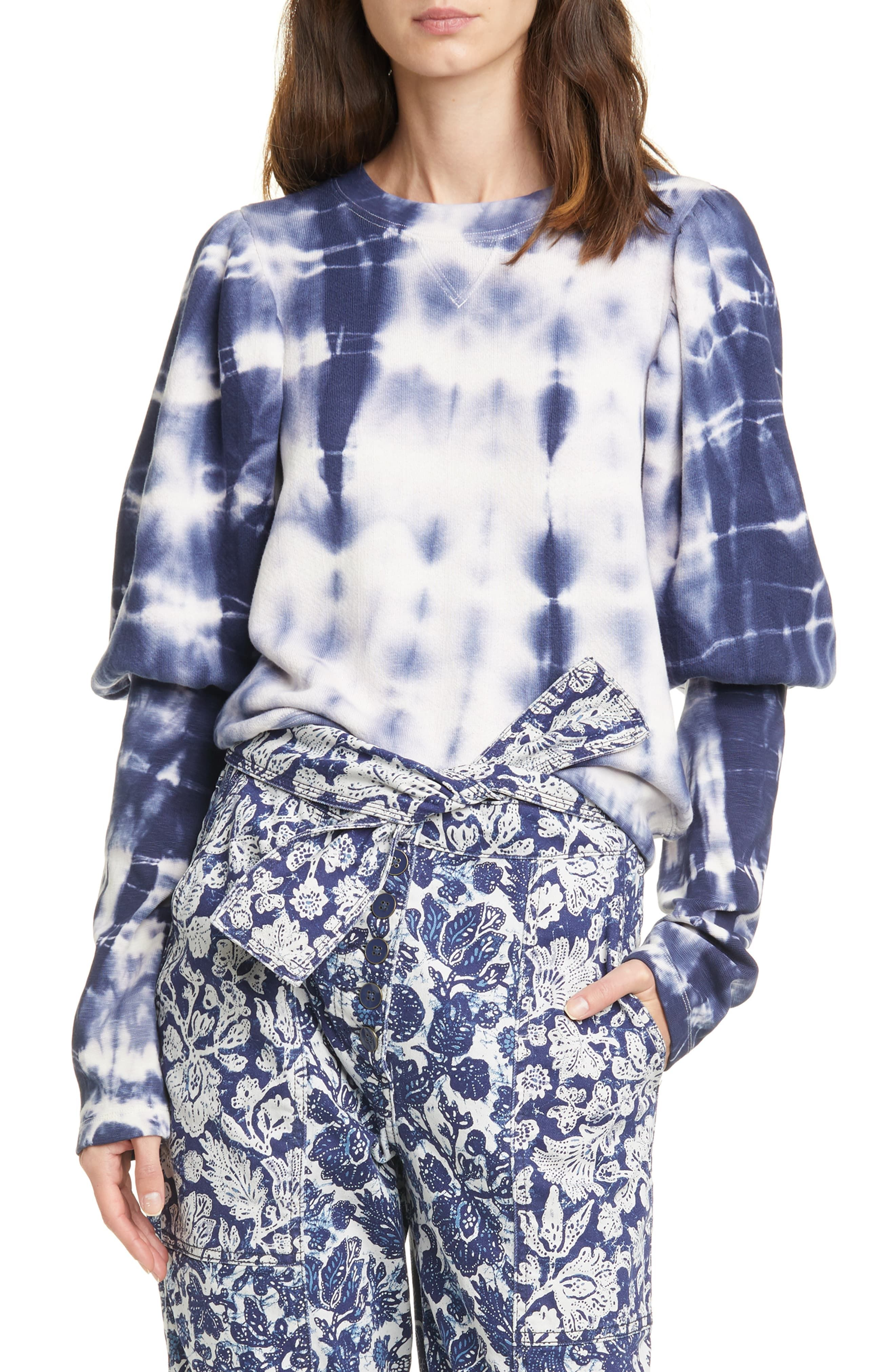 Bleached Tie Dye Nordstrom Point Of View Button Down Shift Dress with Pockets