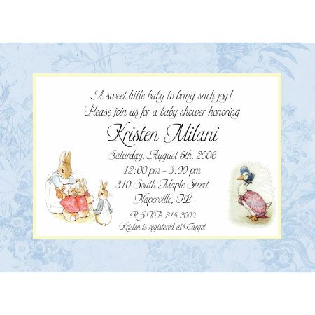 Peter rabbit baby shower invitation baby shower pinterest peter rabbit baby shower invitation filmwisefo Images