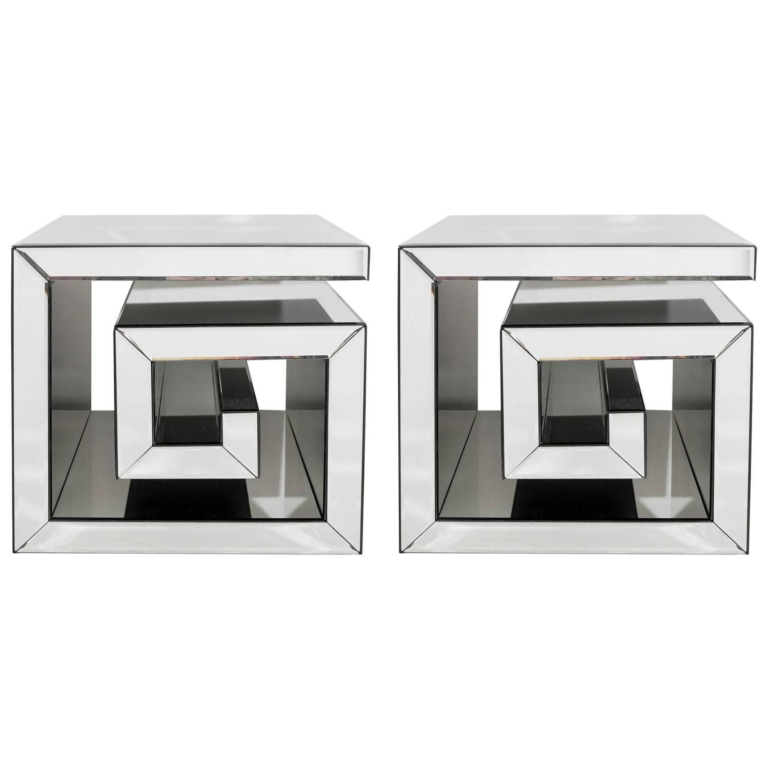 A Pair Of Custom Made Contemporary Modern Side Tables Each Of