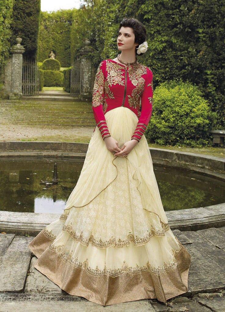 Beige Net #Indian #Designer #Gown | Indian<.>style | Pinterest ...