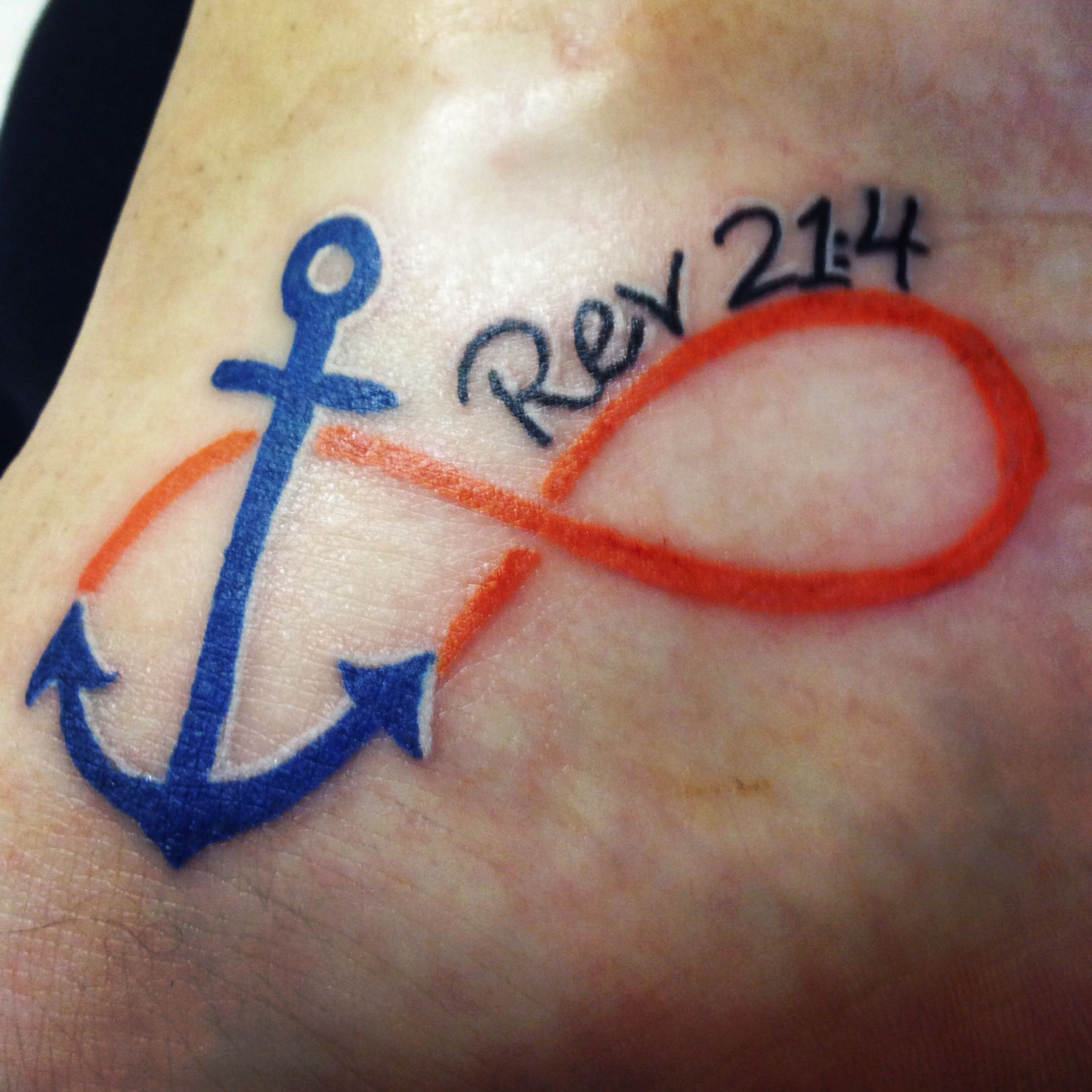 Orange and blue anchor infinity tattoo tats pinterest anchor orange and blue anchor infinity tattoo buycottarizona Images