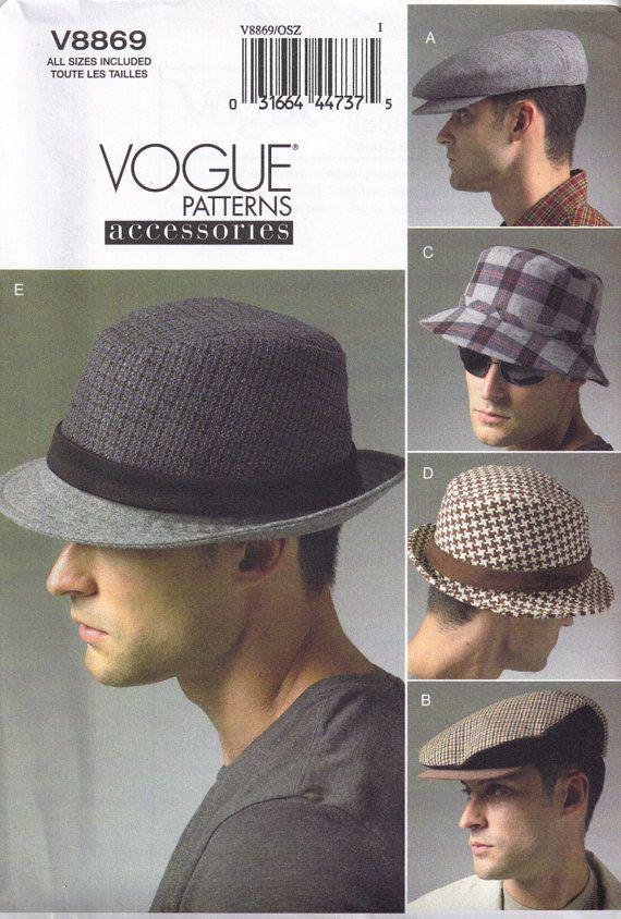 1d633fa3d8 Vogue 8869 mens hat sewing pattern - fedora, bucket, golf hat | Hat ...