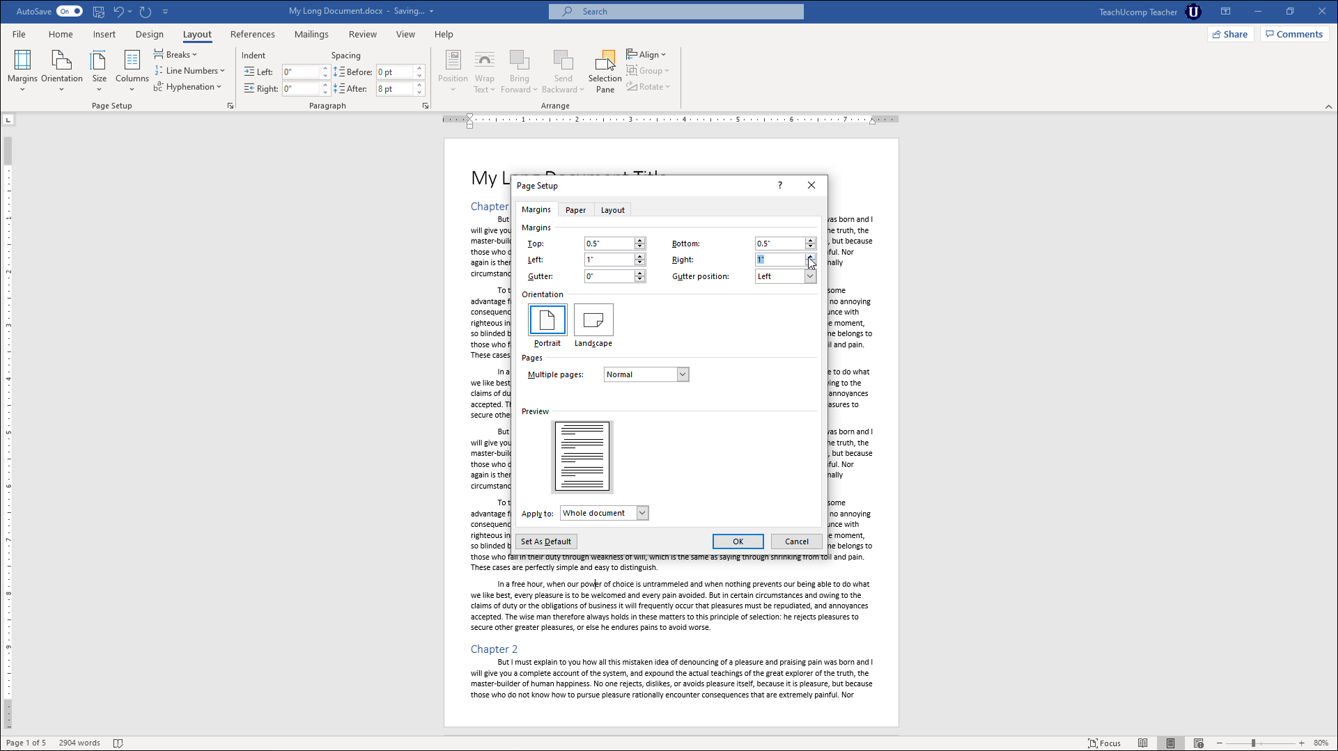 Setting Margins In Microsoft Word 2019 And 365 Words Page Setup How To Apply