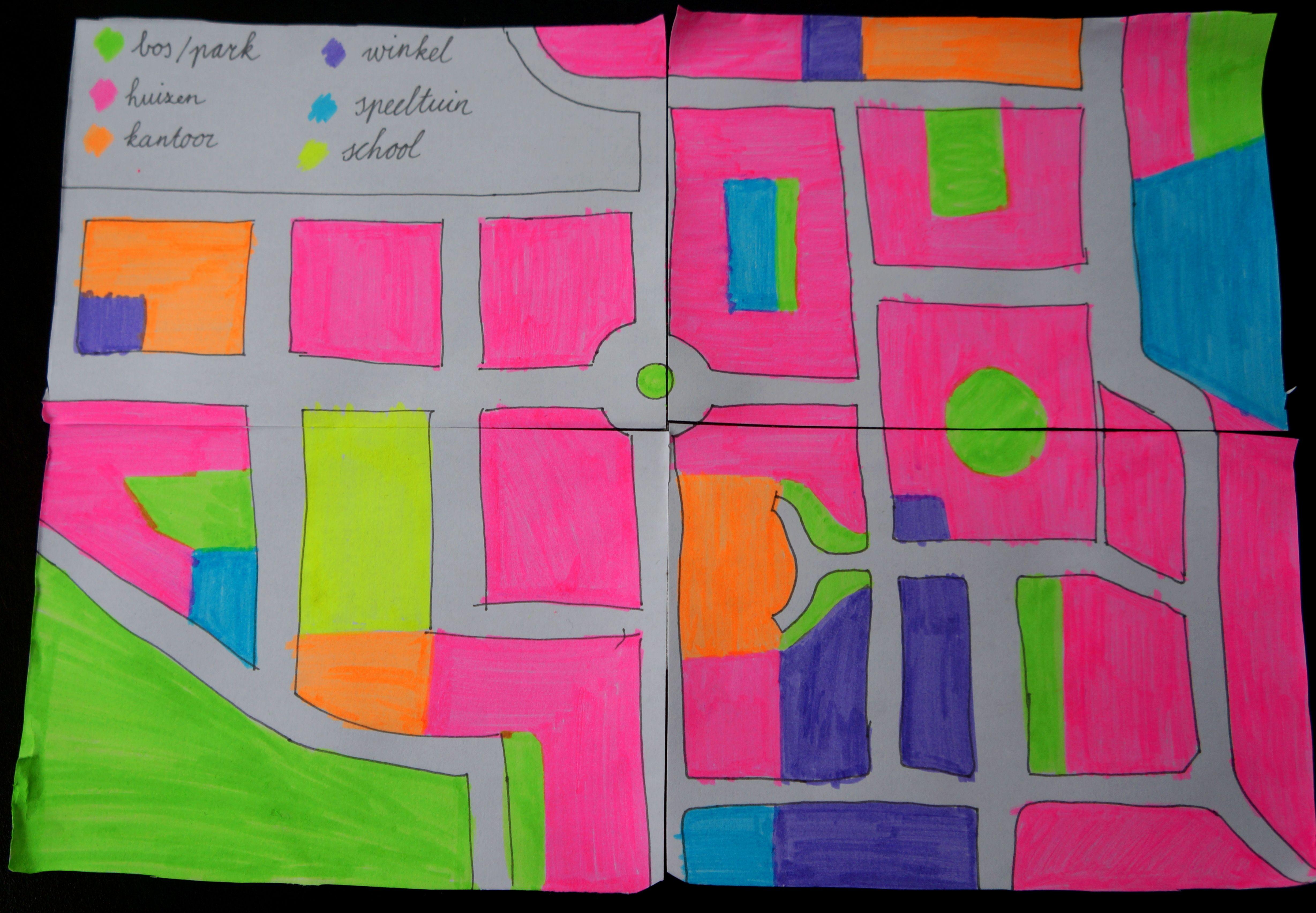 verkeer laat de kinderen hun eigen plattegrond maken incl