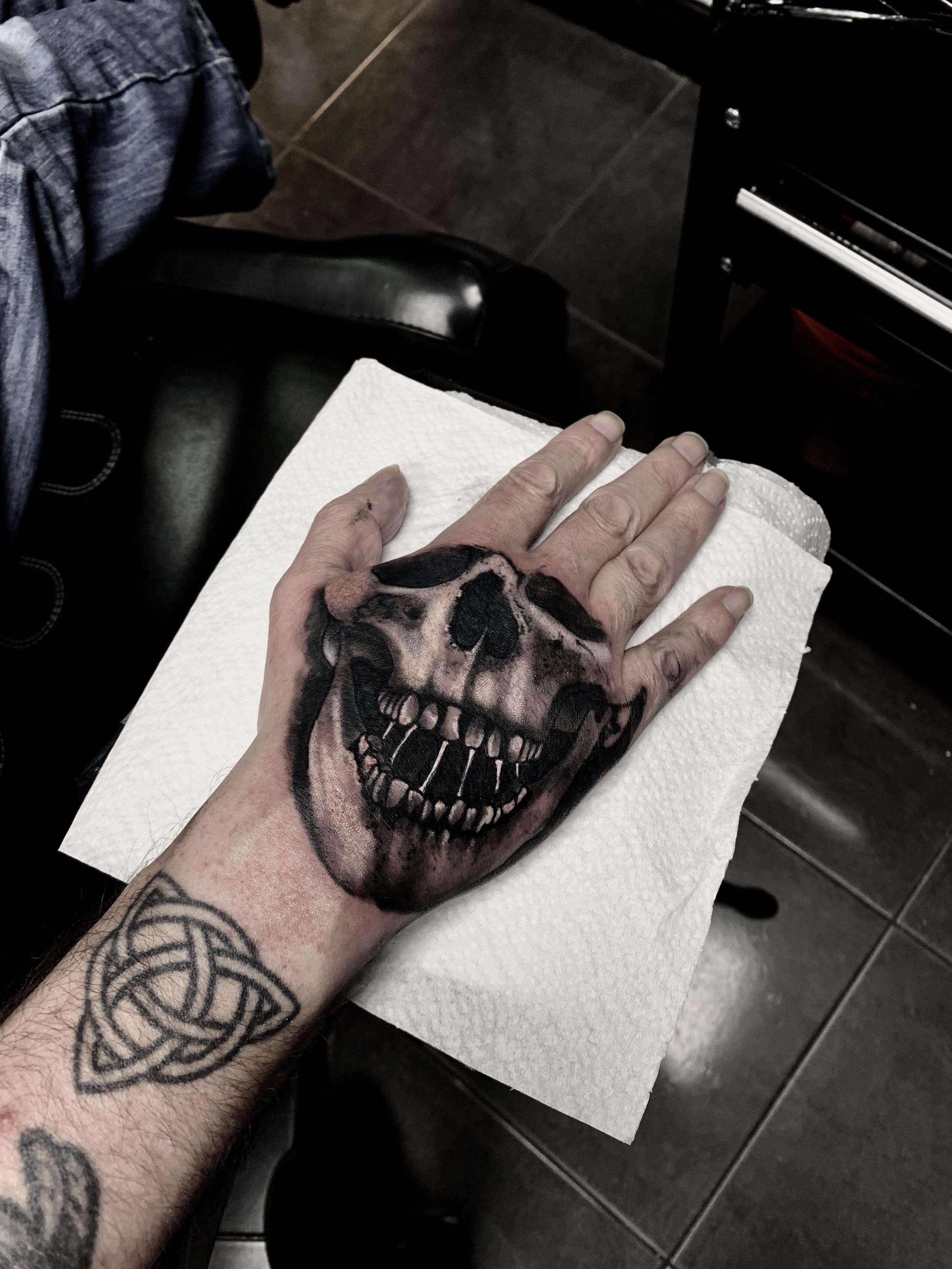 e0adee7f8f274 Hand skull mask tattoo #skulltattoo #handtattoo | My work | Mask ...