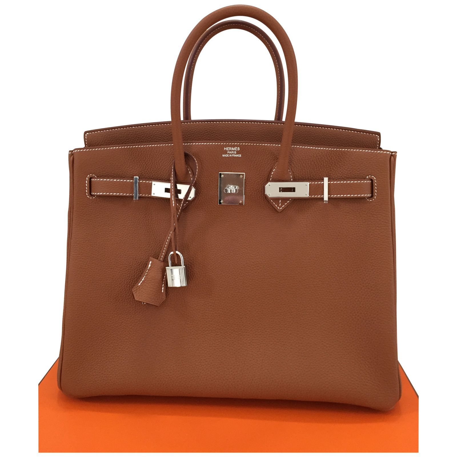 Sac Hermès Birkin 35 en cuir togo - couleur gold - bijouterie palladium -  stamp T a8aad9099aa