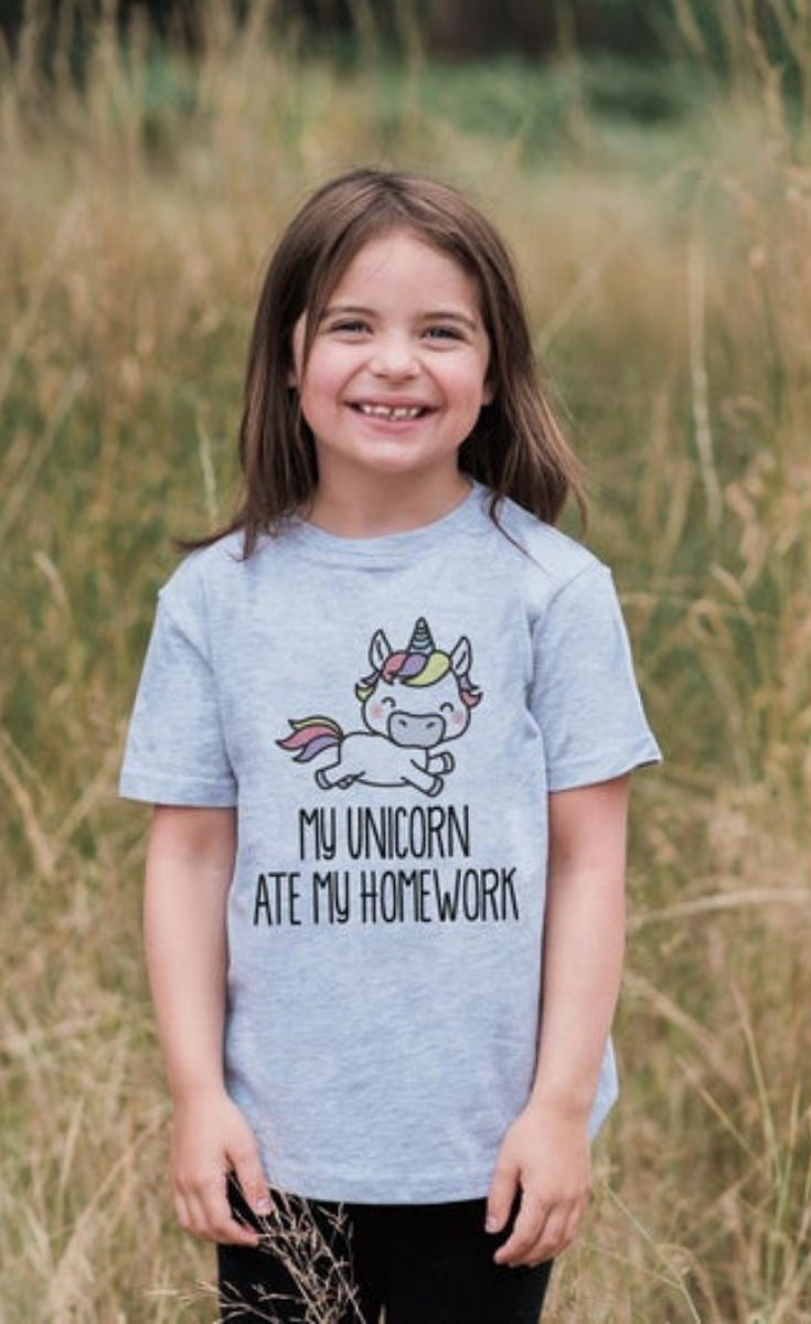 7 ate 9 Apparel Funny Kids Unicorn Ate My Homework T-Shirt