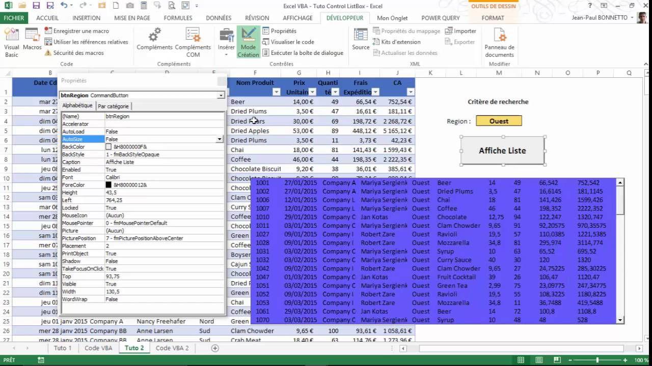Excel VBA - Comment alimenter une ListBox à partir d'un