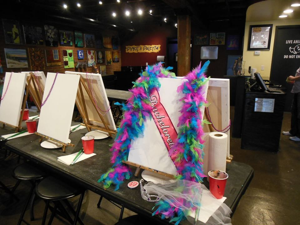 Bachelorette Paint Party! Paint. Drink. Have Fun. Pinot's Palette - Bricktown! https://www.pinotspalette.com/bricktown/classes #PaintBricktown #PinotsPaletteBricktown