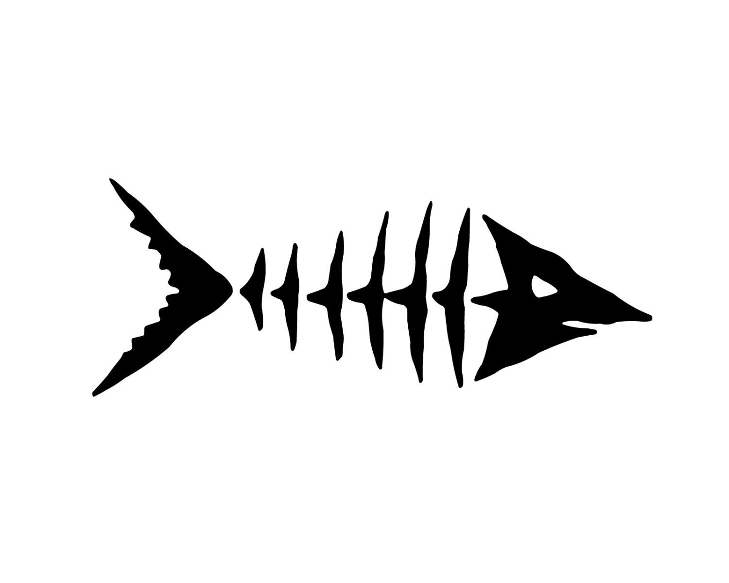 Fish skeleton decal fishing decal by stickermaniadecals on for Free fishing decals