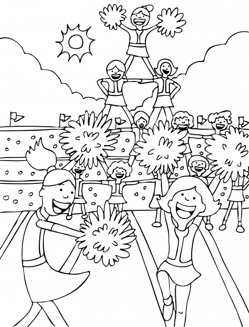 Cheerleading Coloring Page Kidspressmagazine Com Sports Coloring Pages Coloring Pages Barbie Coloring Pages